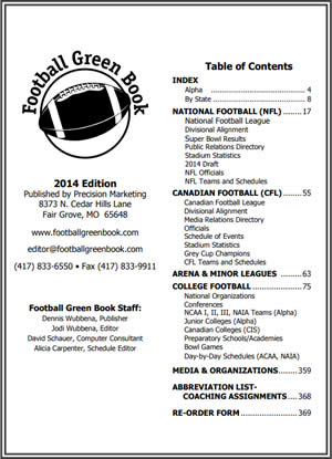 Football Directory Table of Contents